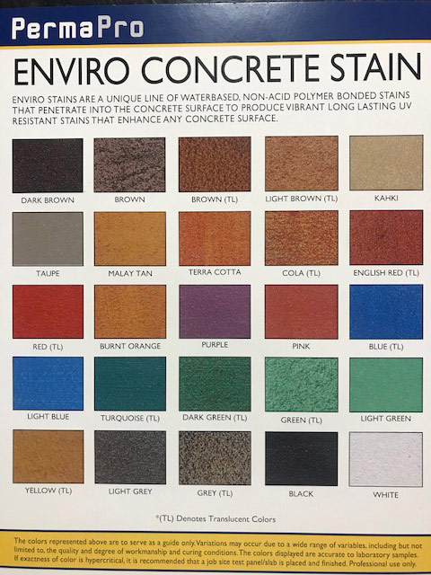 Envirostain Color Chart